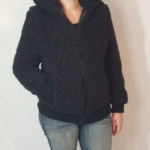Women's coat casual lapel fleece fuzzy faux shearl